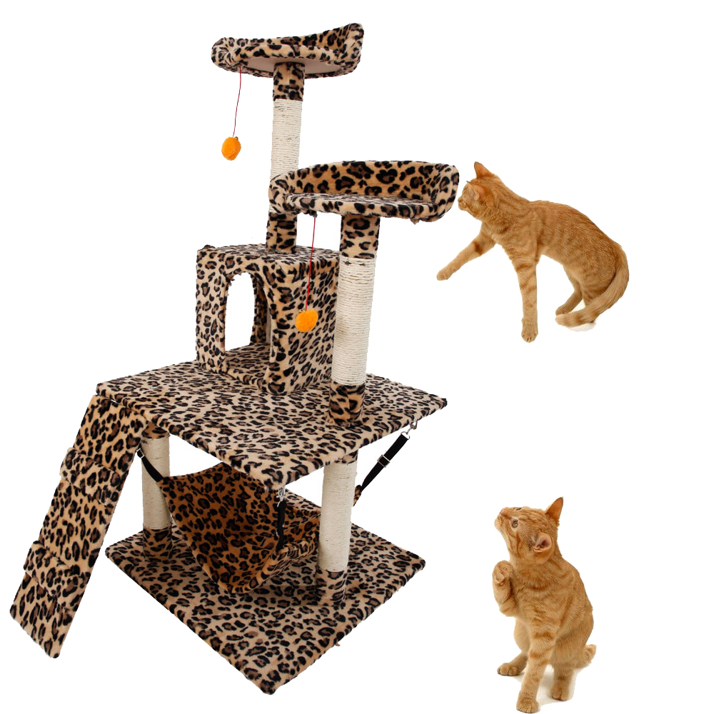 51 cat condo sisal furniture scratching post pet house for Cat tower with hammock
