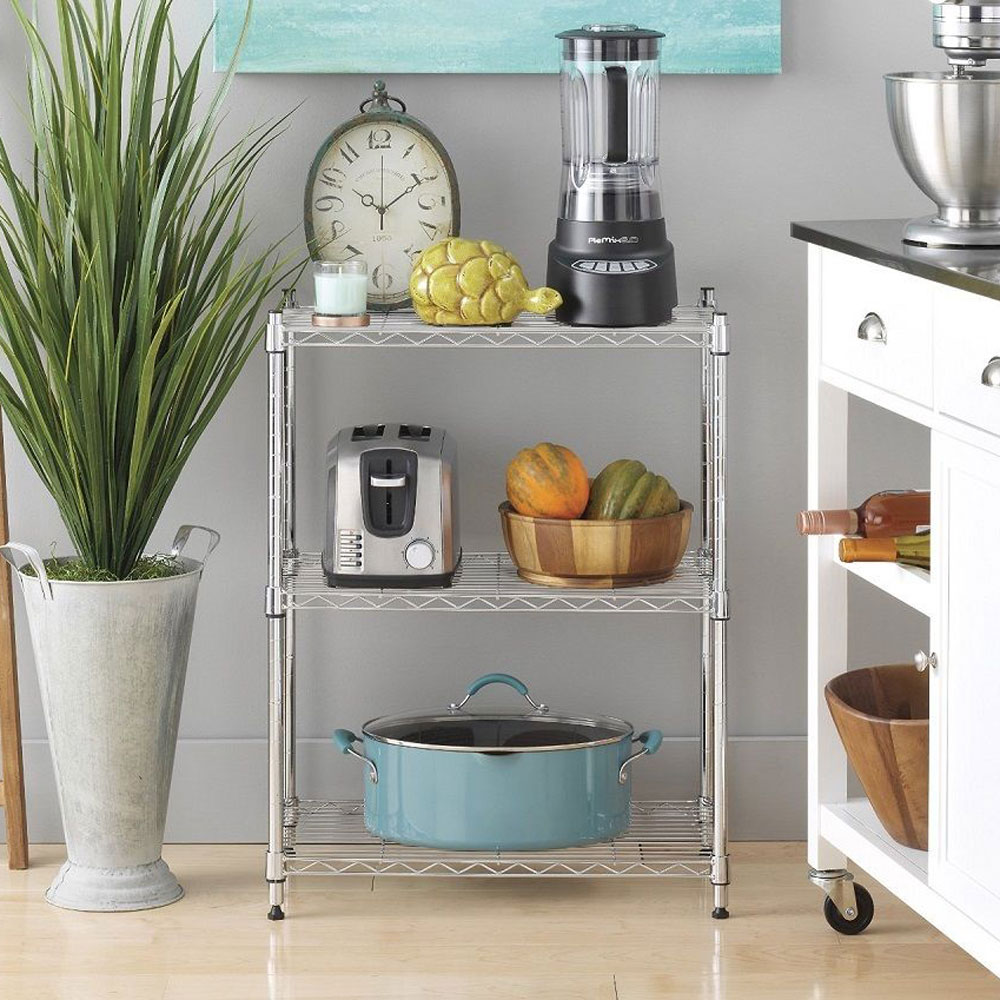 3 tier 34x24x14 wire shelving rack shelf unit garage kitchen storage organizer