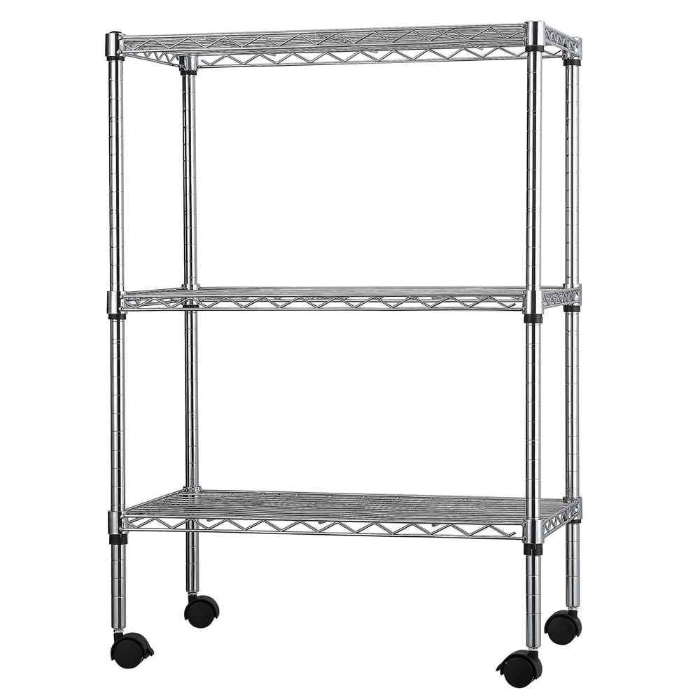 3 Tier Wire Shelving Adjustable Steel Organizer Commercial Shelf ...