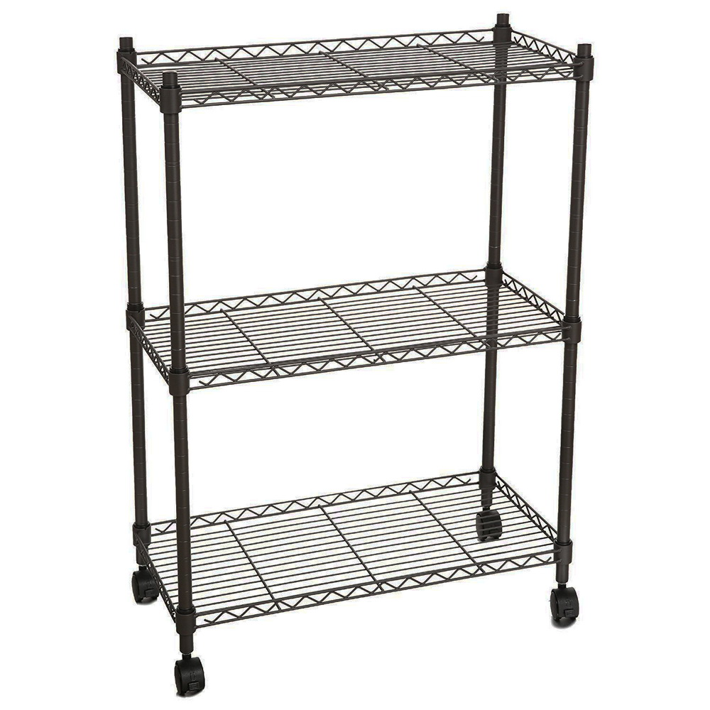 3 Tier Wire Shelving Adjustable Steel Organizer Commercial Shelf ...