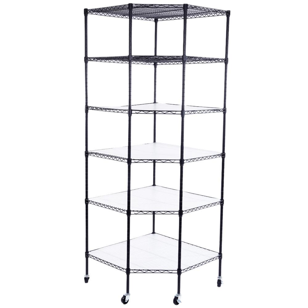 6 layer heavy duty wire steel corner shelf unit garage