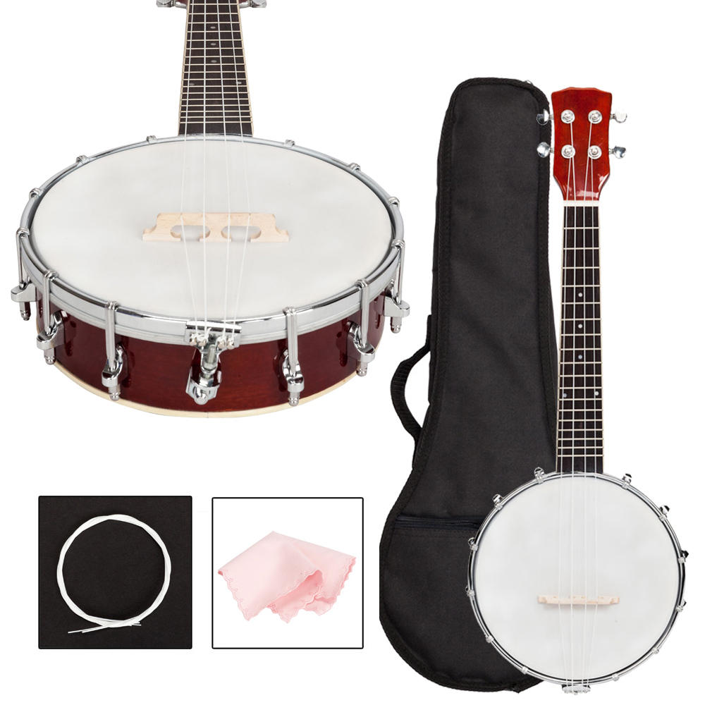 New Soild Sapele Material 4 String Banjo With Bag And Accessories Love For Beginners Beginner