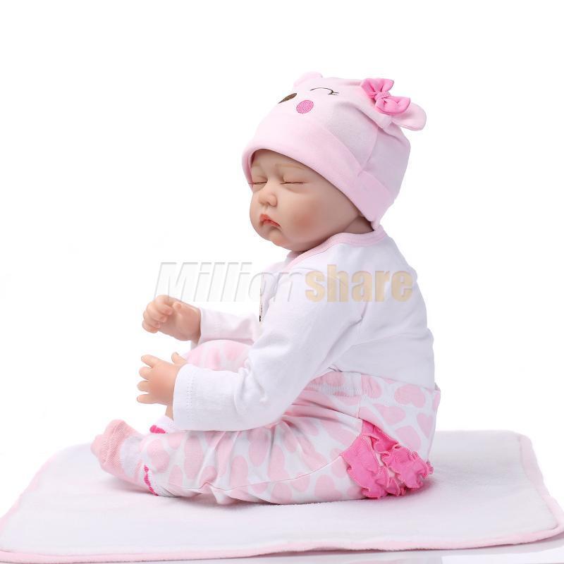 22 Quot Handmade Lifelike Baby Girl Doll Silicone Vinyl Reborn