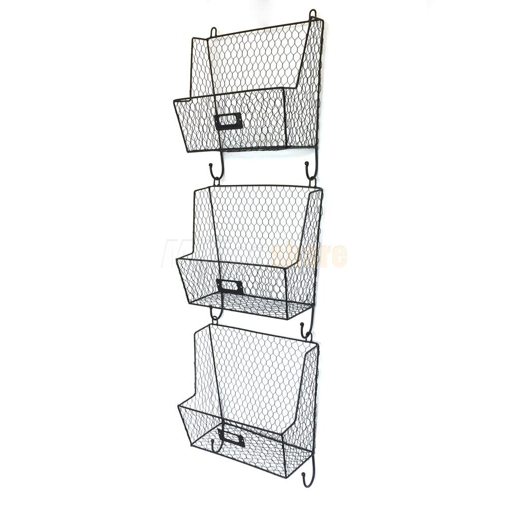 Metal Wire 3Tiers Key Mail Basket Holder Wall Mount Bin Shelf ...