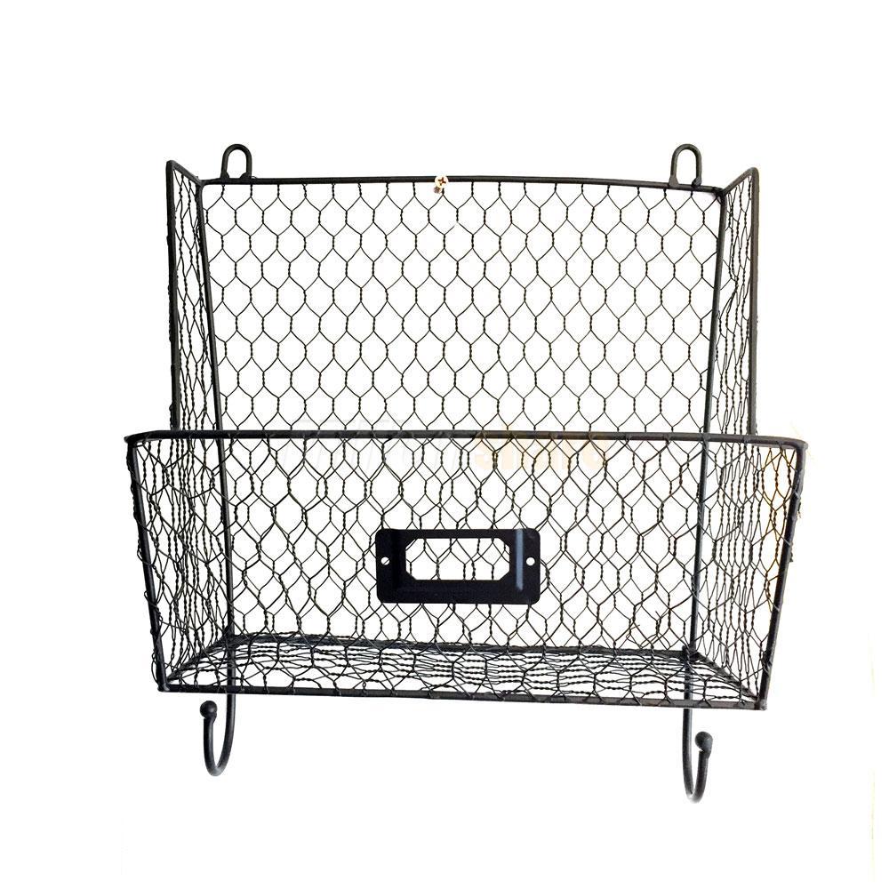 metal wire 3tiers key mail basket holder wall mount bin shelf storage rack black ebay. Black Bedroom Furniture Sets. Home Design Ideas