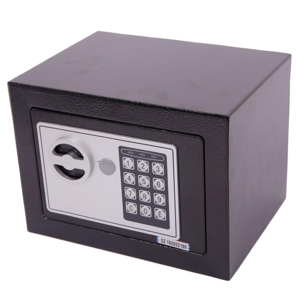 small black steel digital electronic safe coded box home office hotel gun e17ef ebay. Black Bedroom Furniture Sets. Home Design Ideas