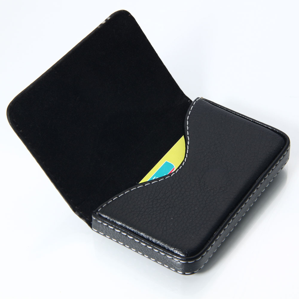 New leather business name credit id card holder wallet for Briefcase business card holder