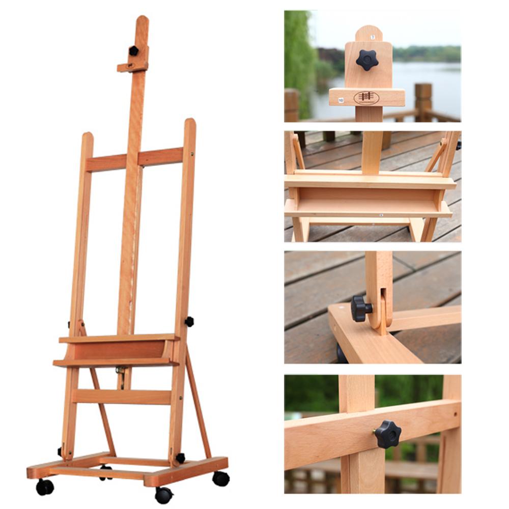 Portable Artist Durable Wooden Easel 360 H Frame W Caster