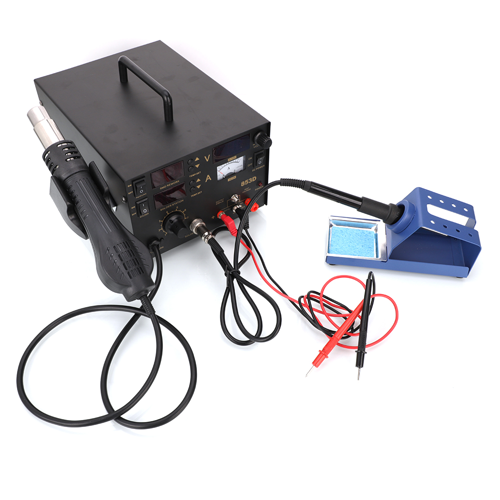 3in1 853d 1a Dc Power Supply Smd Bga Soldering Rework Station Hot Tool Kit 12 Different Tools Circuit Board Repair Air Gun 110v