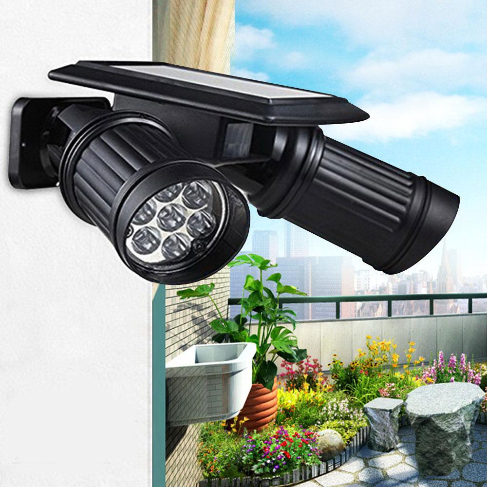 14 LED Dual Head Solar Powered Yard Lights PIR Motion
