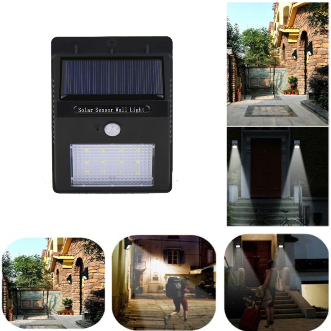 12 LED Solar Motion Sensor Wall Light Outdoor Garden Walkway Lamp ...