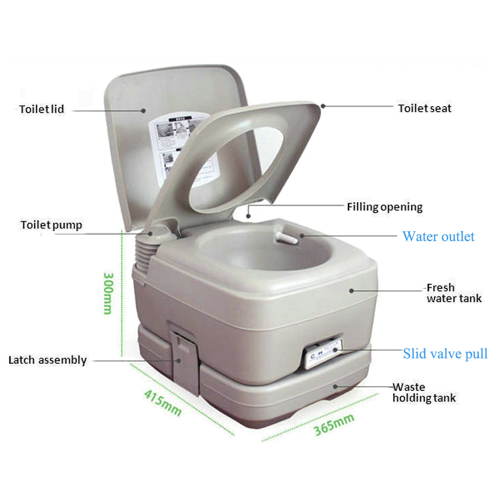 10L Portable Camping Toilet Flush Porta Travel Vehicle Boat Toilet ...