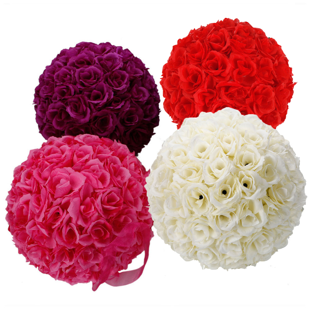 New 10 Wedding Bridal Kissing Ball 10pcs Silk Flower Ball