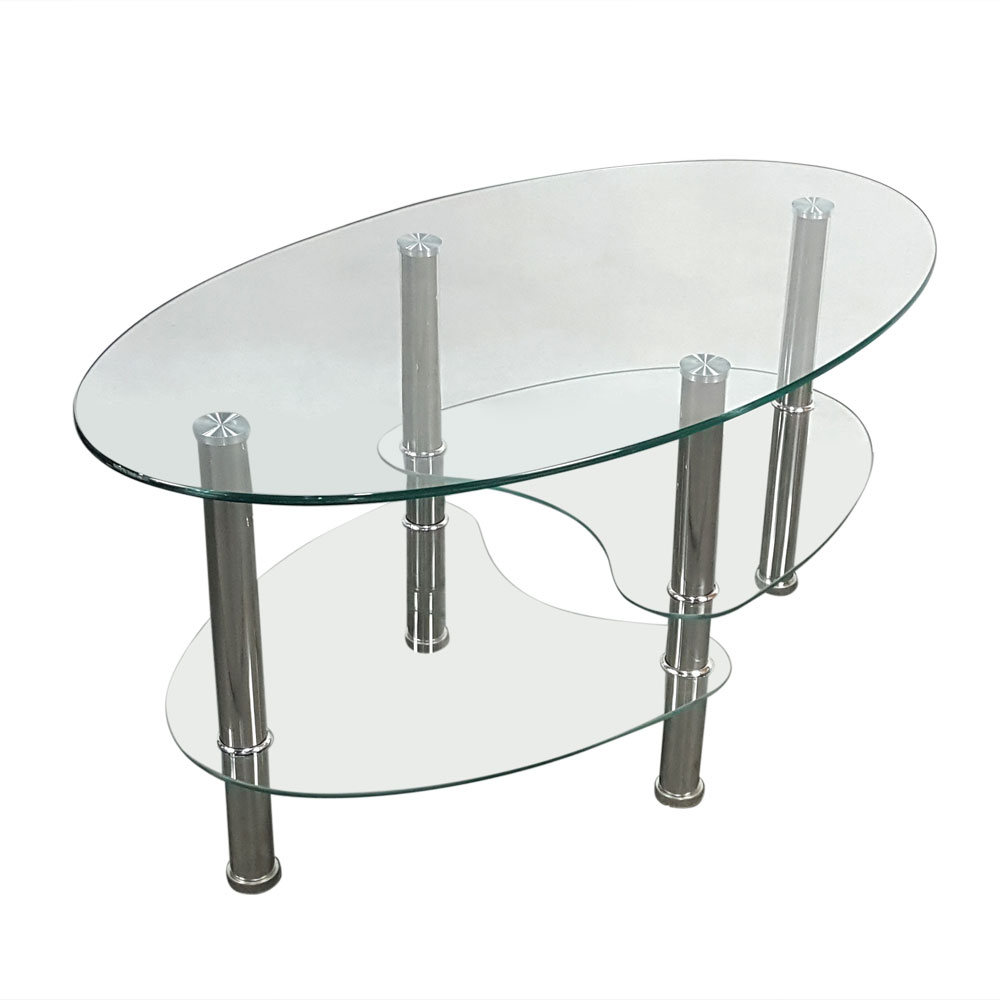 Admirable Details About Modern Design Clear Glass Coffee Table Oval Side Chrome Base Shelves Living Room Machost Co Dining Chair Design Ideas Machostcouk