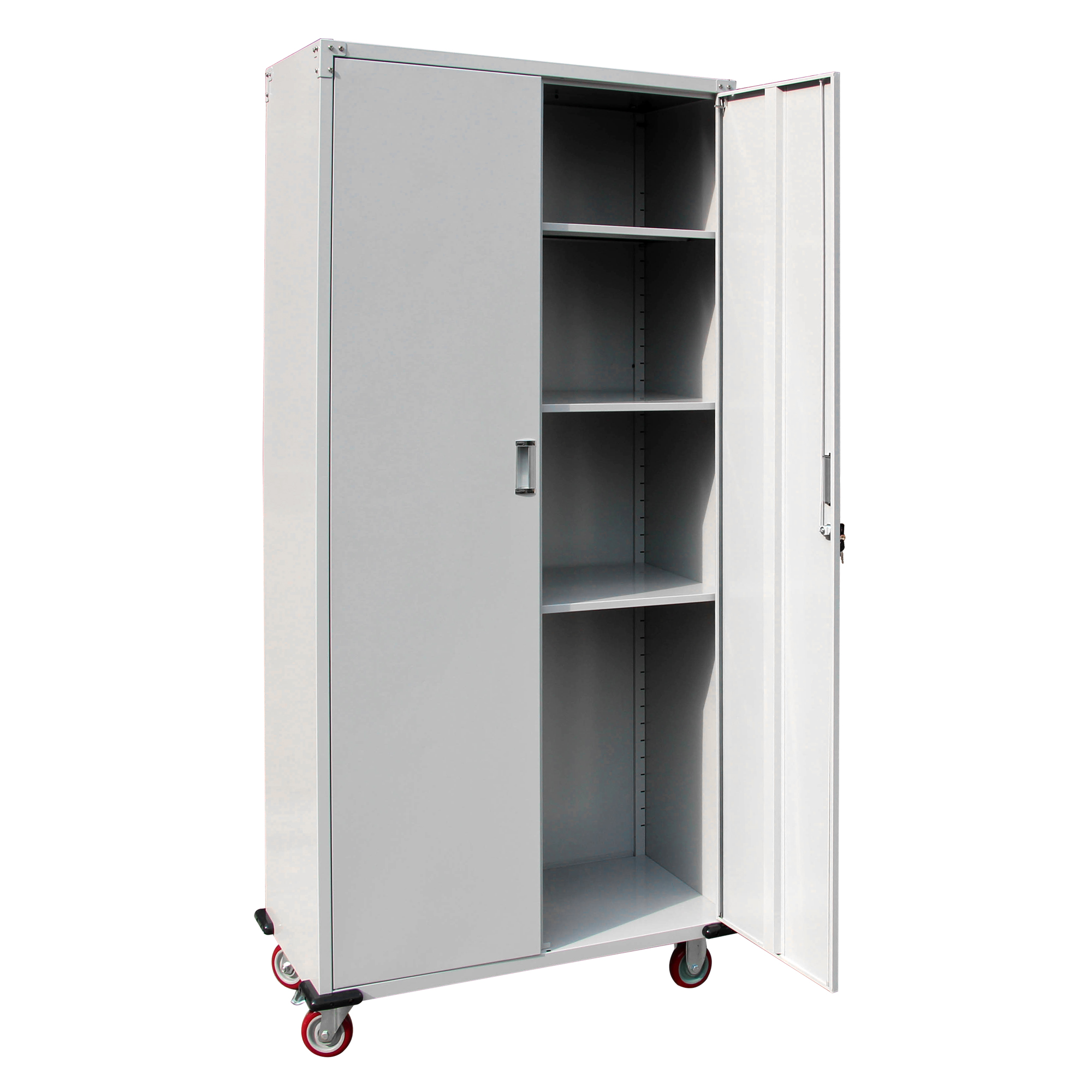 Tips For Buying Garage Utility Cabinets: Rolling Garage Tool Box Storage Cabinet 4 Shelves( 3 Height Adjustable Shelves )
