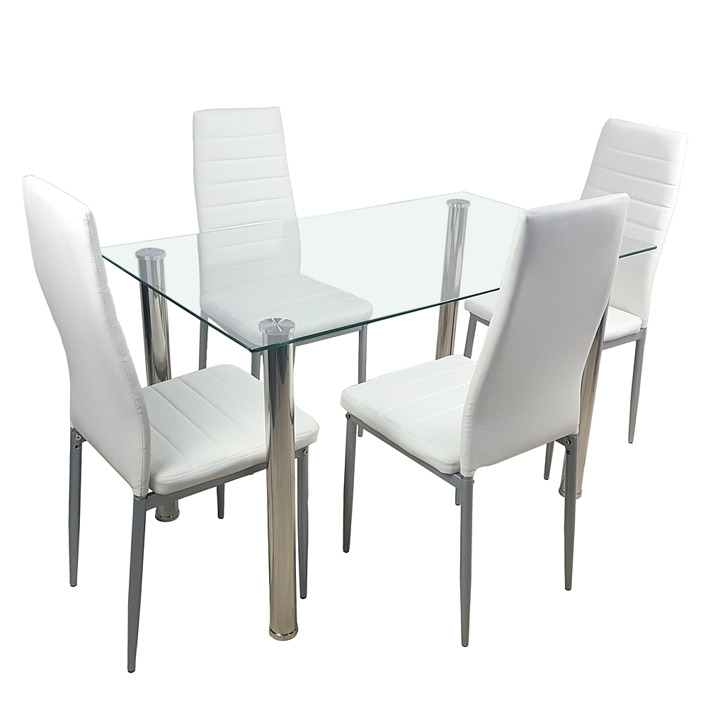 5 Pieces Dining Table White Glass Table And 4 Chairs Faux