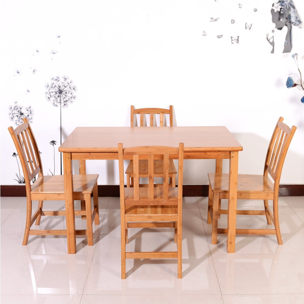 5PCS Bamboo Wood Color Dining Set With 1 Table And 4 Chairs Kitchen  Furniture