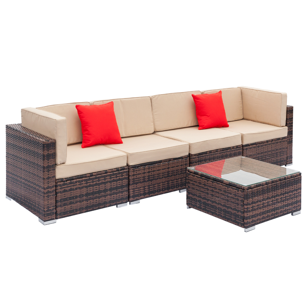 Pleasant Details About 5Pcs Outdoor Patio Rattan Pe Wicker Sectional Furniture Sofa Set Couch Brown Onthecornerstone Fun Painted Chair Ideas Images Onthecornerstoneorg