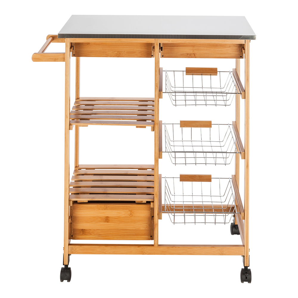 Details About Bamboo Kitchen Cart With Stainless Steel Top W 3 Drawers Rolling Kitchen Trolle