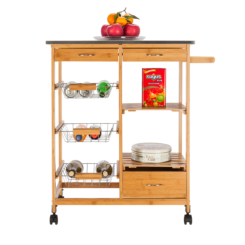 Kitchen Cart With Drawers: Bamboo Kitchen Cart With Stainless Steel Top W/ 3 Drawers