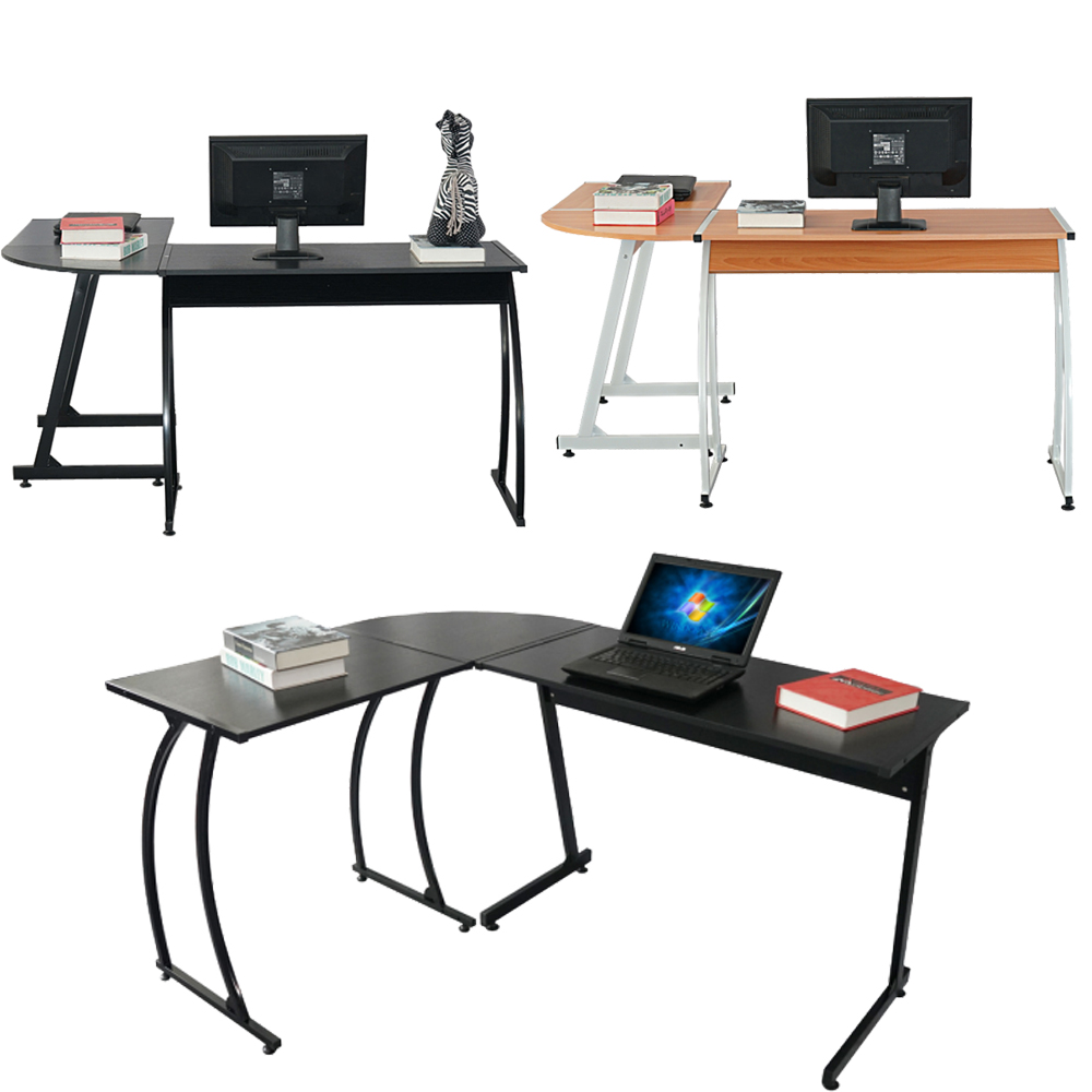 Delicieux New L Shaped Desk Office Computer Glass Corner Desk With Keyboard Tray