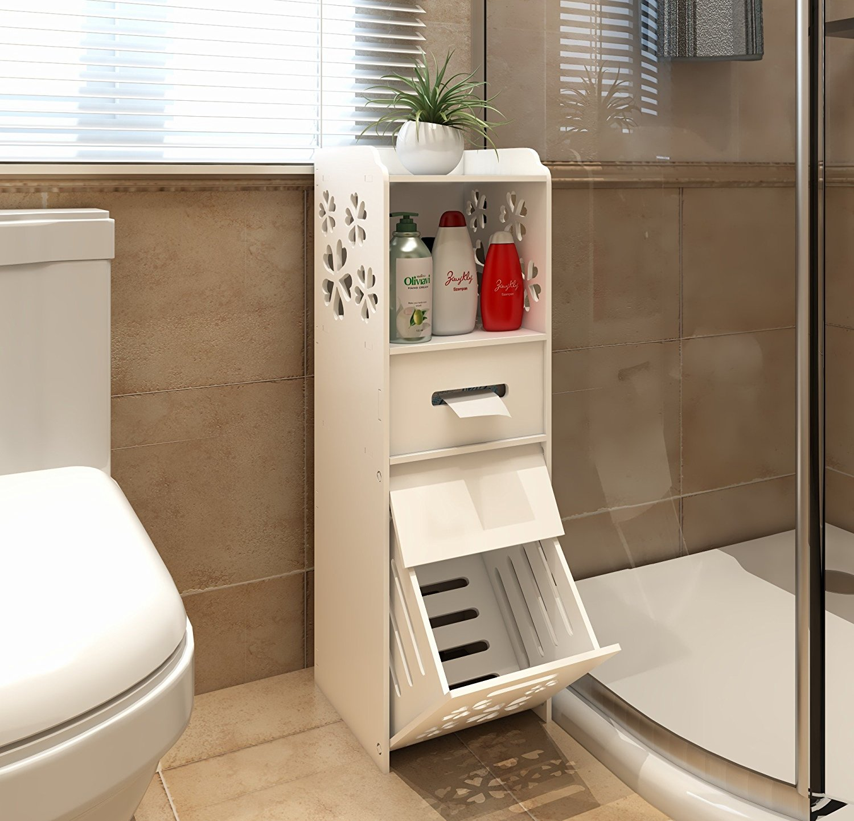 Awe Inspiring Details About Slim Bathroom Storage Cabinet Floor Standing Narrow Cupboard Shelf Toilet White Download Free Architecture Designs Itiscsunscenecom