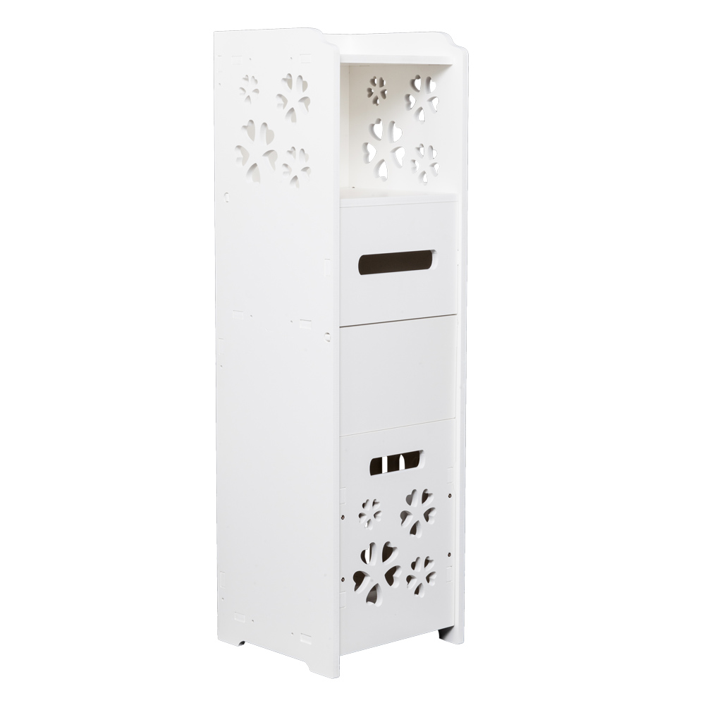 Slim Bathroom Storage Cabinet Floor Standing Narrow Cupboard Shelf ...