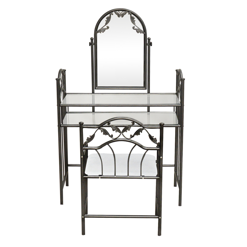 Details about Mirror Vanity Set Table Stool Makeup Vintage Dresser Decor  Bedroom Furniture NEW
