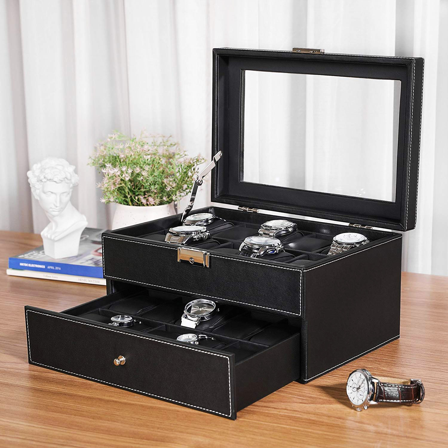 Watches, Parts & Accessories Reliable Faux Leather Watch Case Storage Display Box Organiser Jewelery Glass Top Boxes, Cases & Watch Winders
