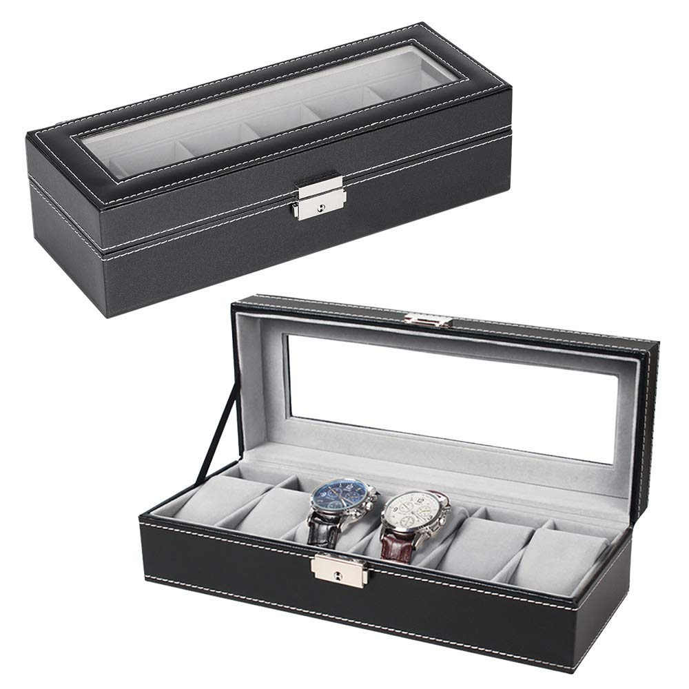 Reliable Faux Leather Watch Case Storage Display Box Organiser Jewelery Glass Top Jewelry Packaging & Display