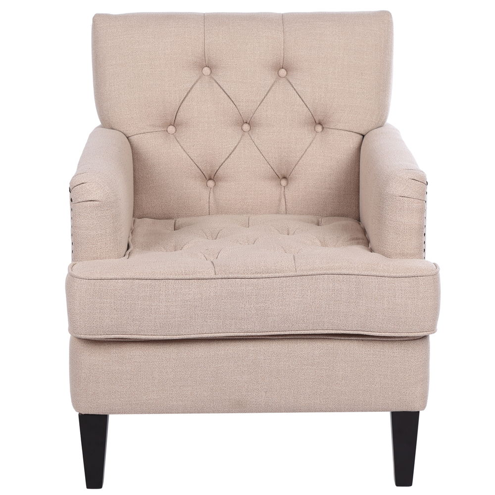 Pleasant Details About Upholstered Modern Design Accent Fabric Chair Single Sofa Comfy Arm Chair Beige Ibusinesslaw Wood Chair Design Ideas Ibusinesslaworg