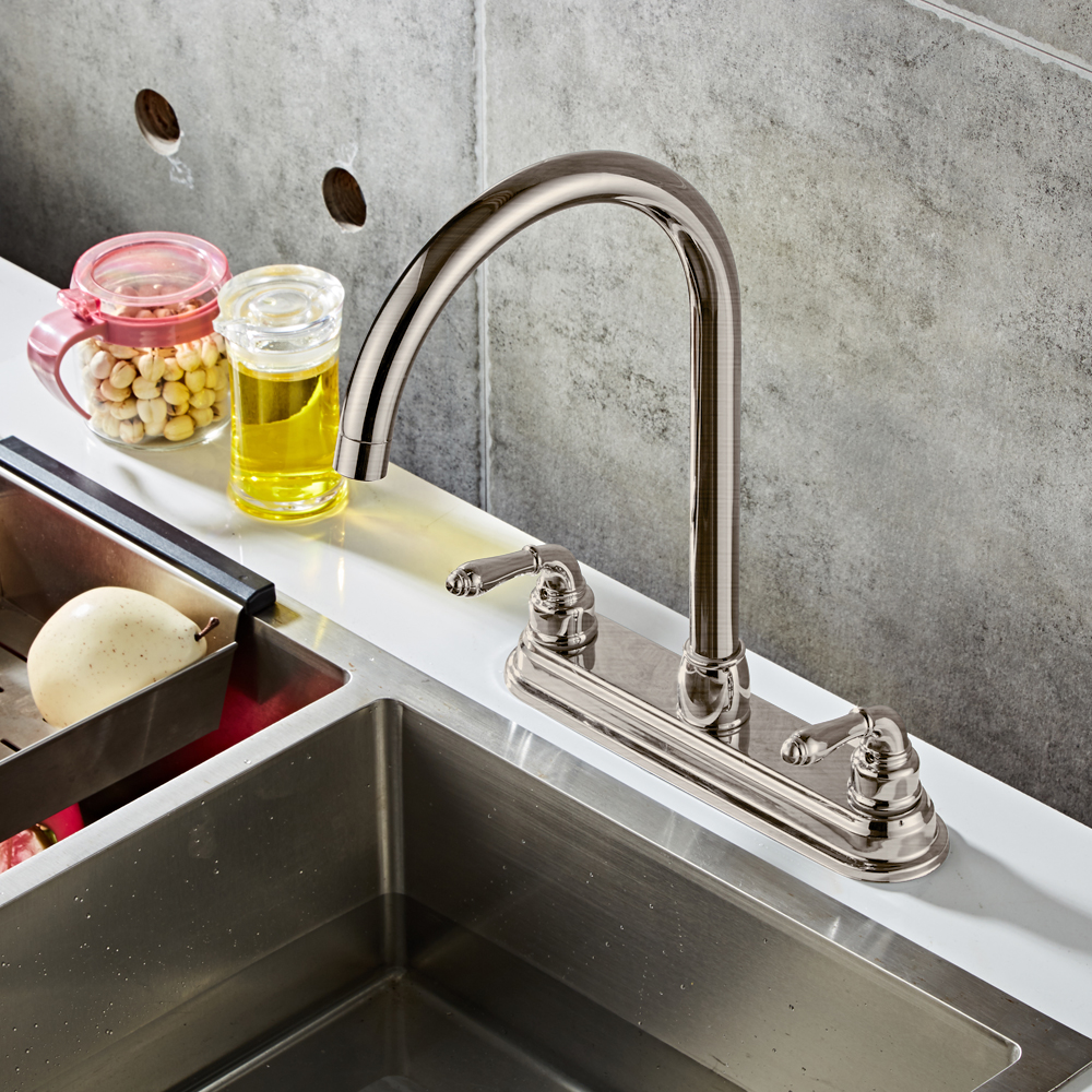 Kitchen Faucets For Mobile Homes: Double Handles RV / Mobile Home Kitchen Sink Faucet