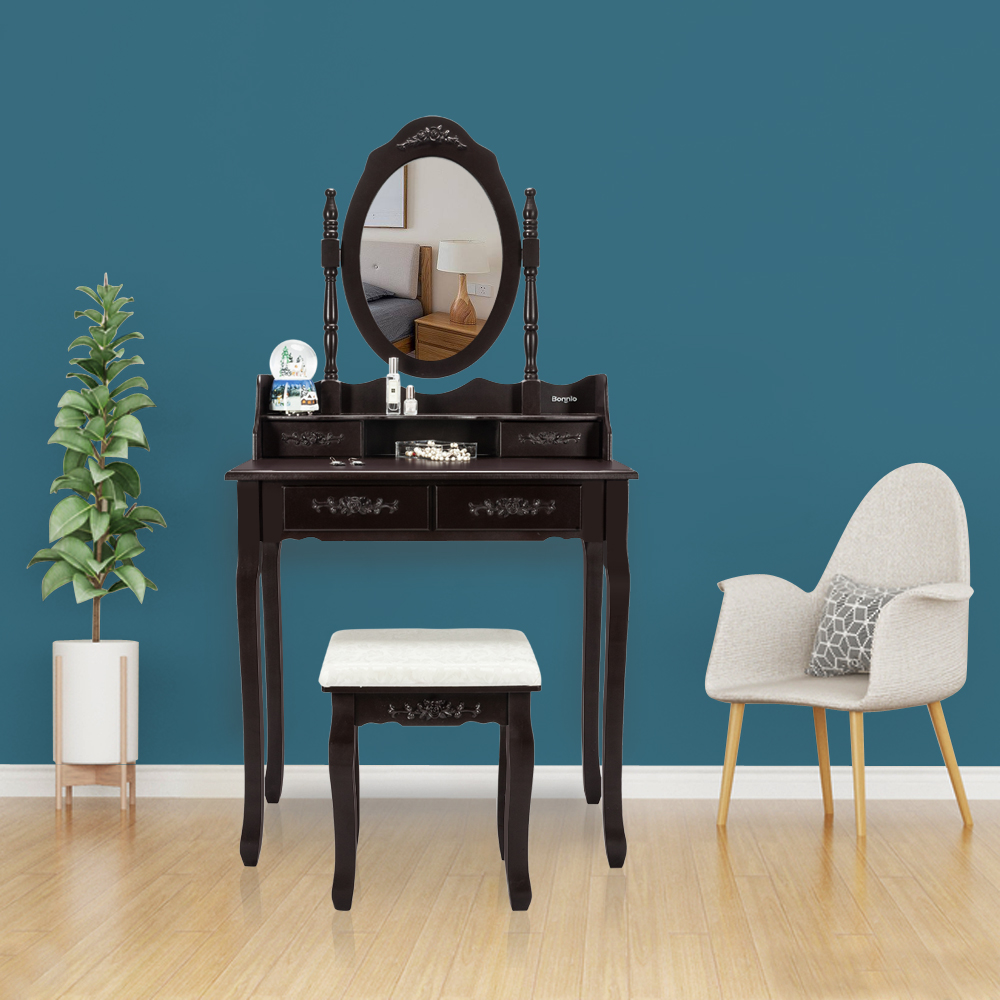 Peachy Details About Vanity Dressing Table Set With Mirror Stool 4 Drawers Makeup Desk Bedroom Brown Ocoug Best Dining Table And Chair Ideas Images Ocougorg