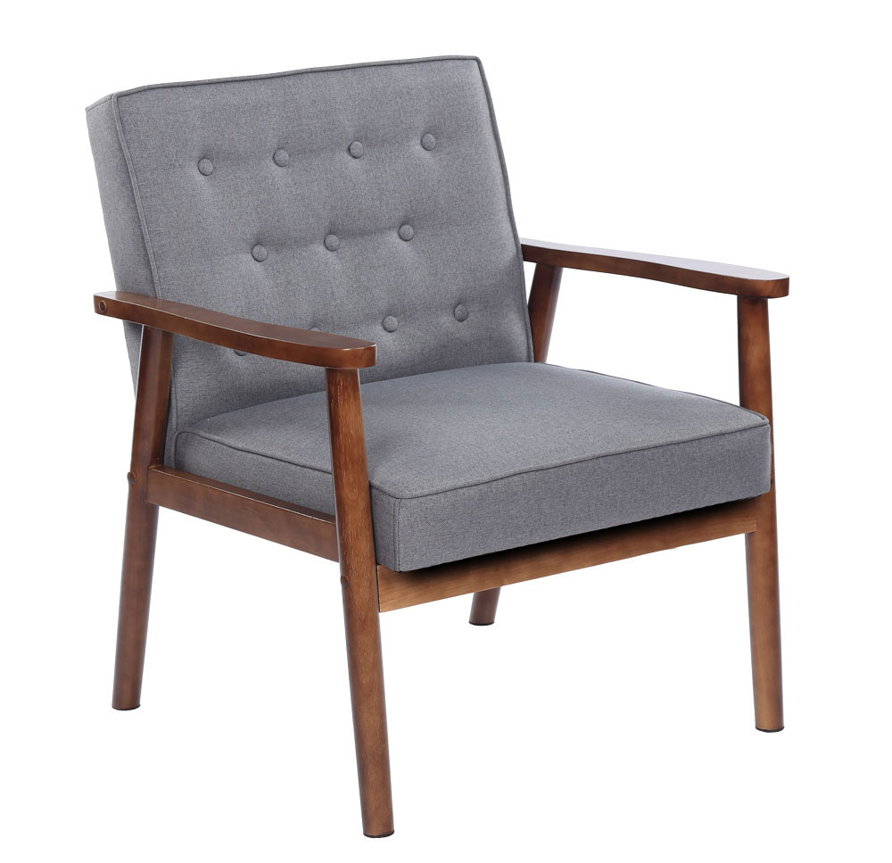 Superb Details About European Style Mid Century Retro Modern Solid Wood Fabric Lounge Chair Grey Alphanode Cool Chair Designs And Ideas Alphanodeonline