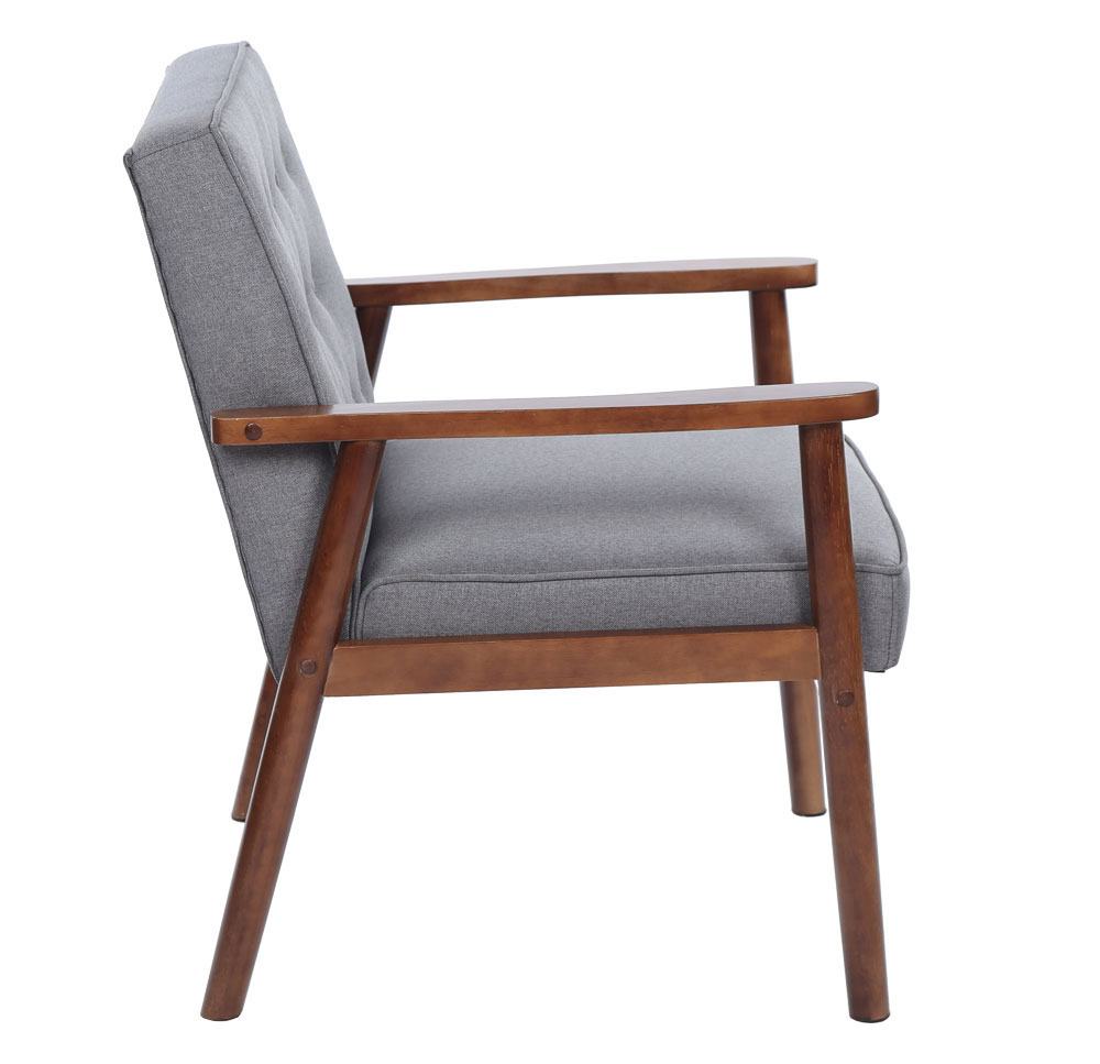 Terrific Details About European Style Mid Century Retro Modern Solid Wood Fabric Lounge Chair Grey Alphanode Cool Chair Designs And Ideas Alphanodeonline