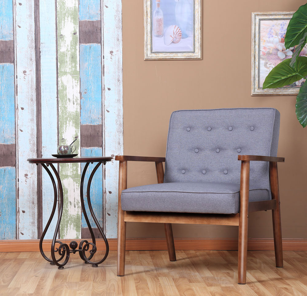 Pleasant Details About European Style Mid Century Retro Modern Solid Wood Fabric Lounge Chair Grey Alphanode Cool Chair Designs And Ideas Alphanodeonline