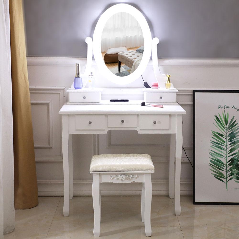 Details about Vanity Table 10 LED Lights 5 Drawers Makeup Dressing Desk Set  Bedroom Vanities