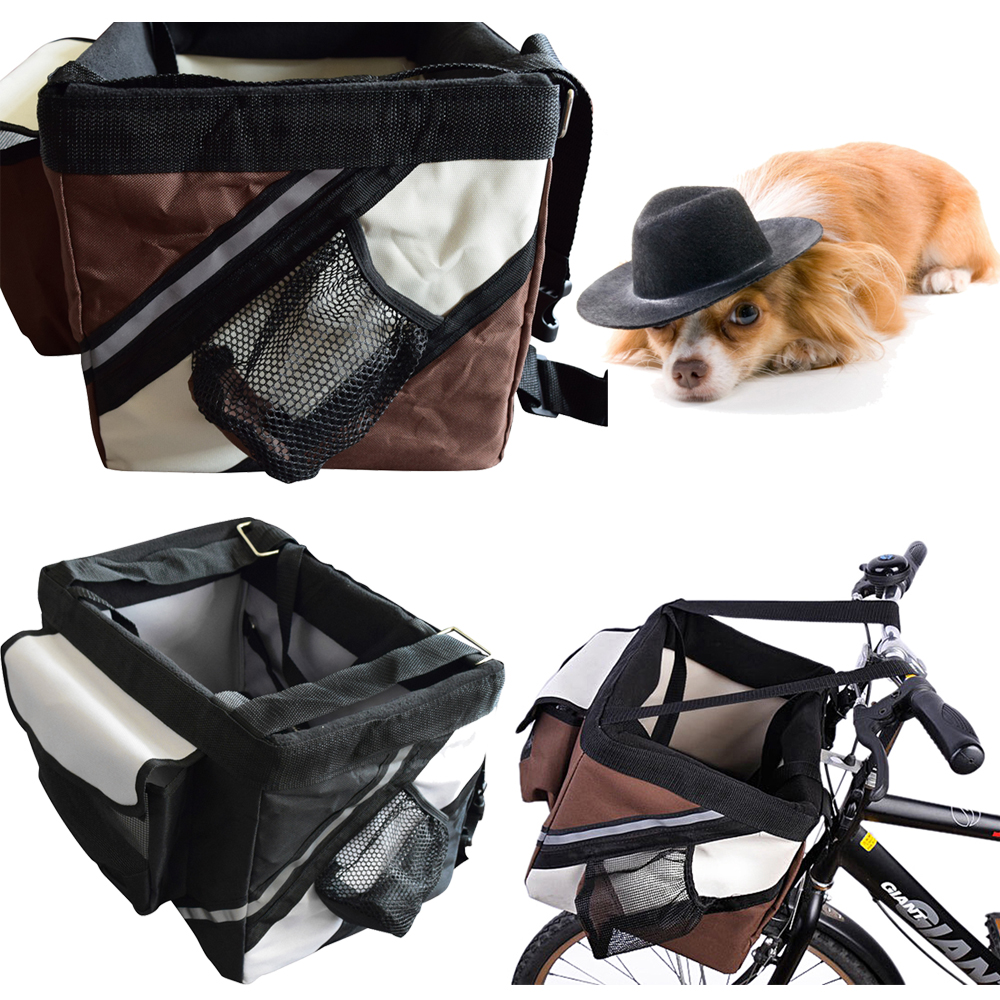 9a1095abf5f9 Details about Dog Cat Pet Bike Bicycle Basket Travel Carrier Cycling Front  Bag Black/Brown 2