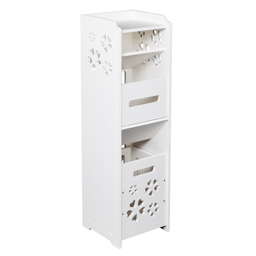 slim bathroom storage cabinet floor standing narrow cupboard shelf toilet white ebay. Black Bedroom Furniture Sets. Home Design Ideas