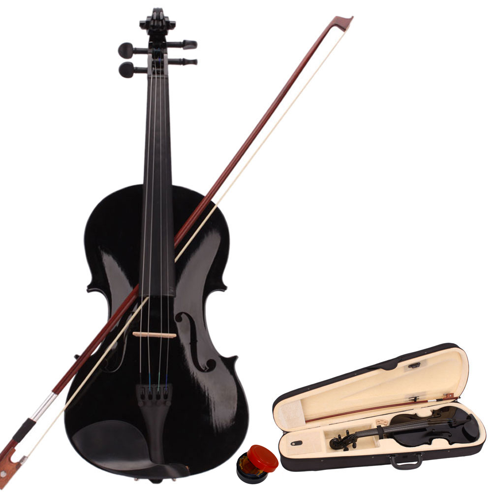 new student band 4 4 acoustic orchestral violin fiddle black with case bow rosin ebay. Black Bedroom Furniture Sets. Home Design Ideas